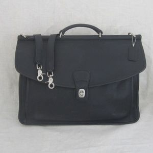 COACH black leather BEEKMAN briefcase silver